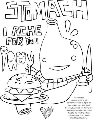 Stomach Coloring Page - I Heart Guts