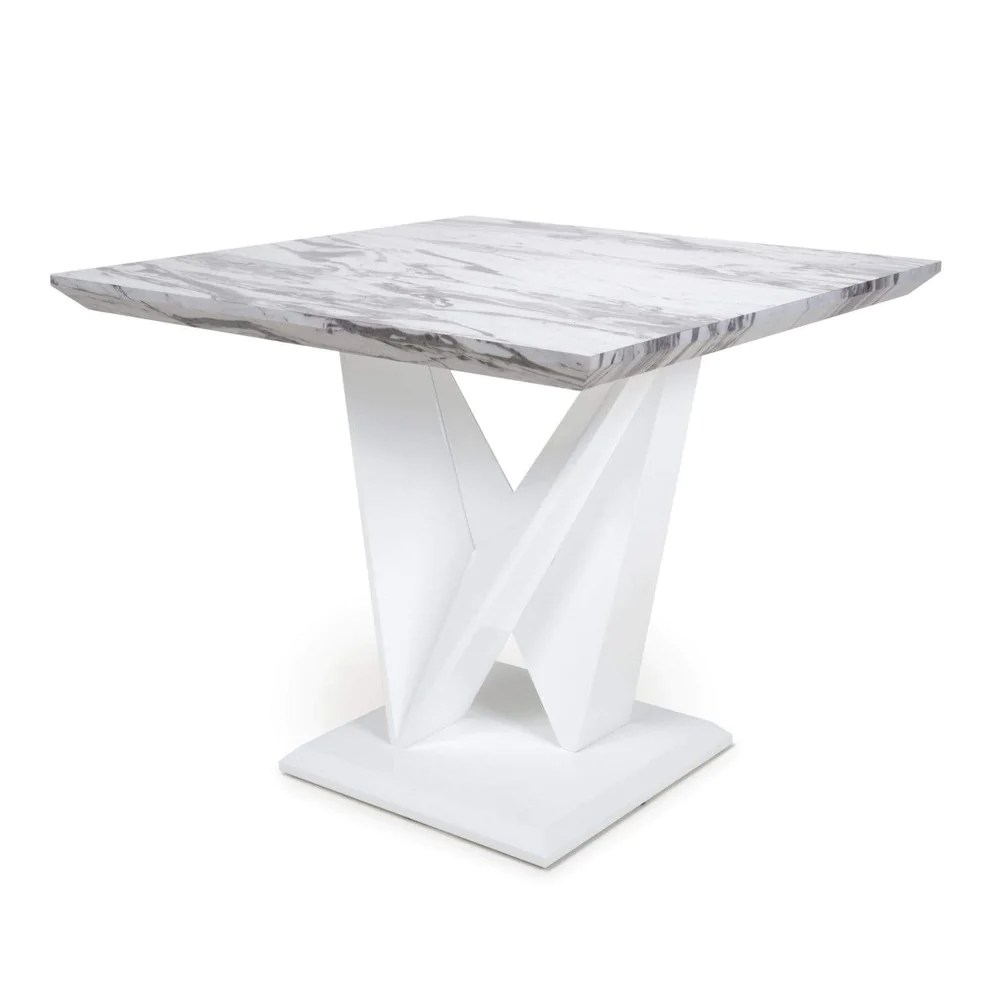 saturn square marble effect top high gloss grey white dining table