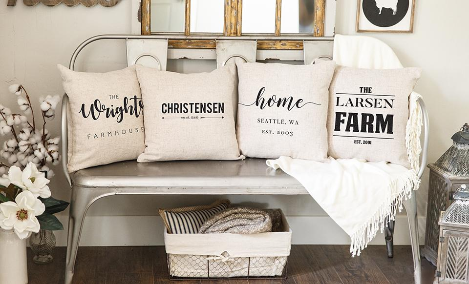 personalized farmhouse style throw pillow covers