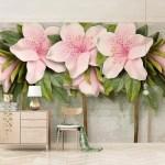 3d Large Flower Leaf 059 Aj Wallpaper