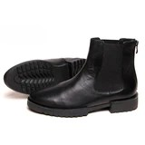 Designer Black Men's Genuine Leather Boots With Back Zip