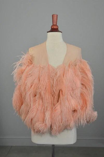 1920s Pink Feather Deco Shawl Cape Shrug VintageVirtuosa