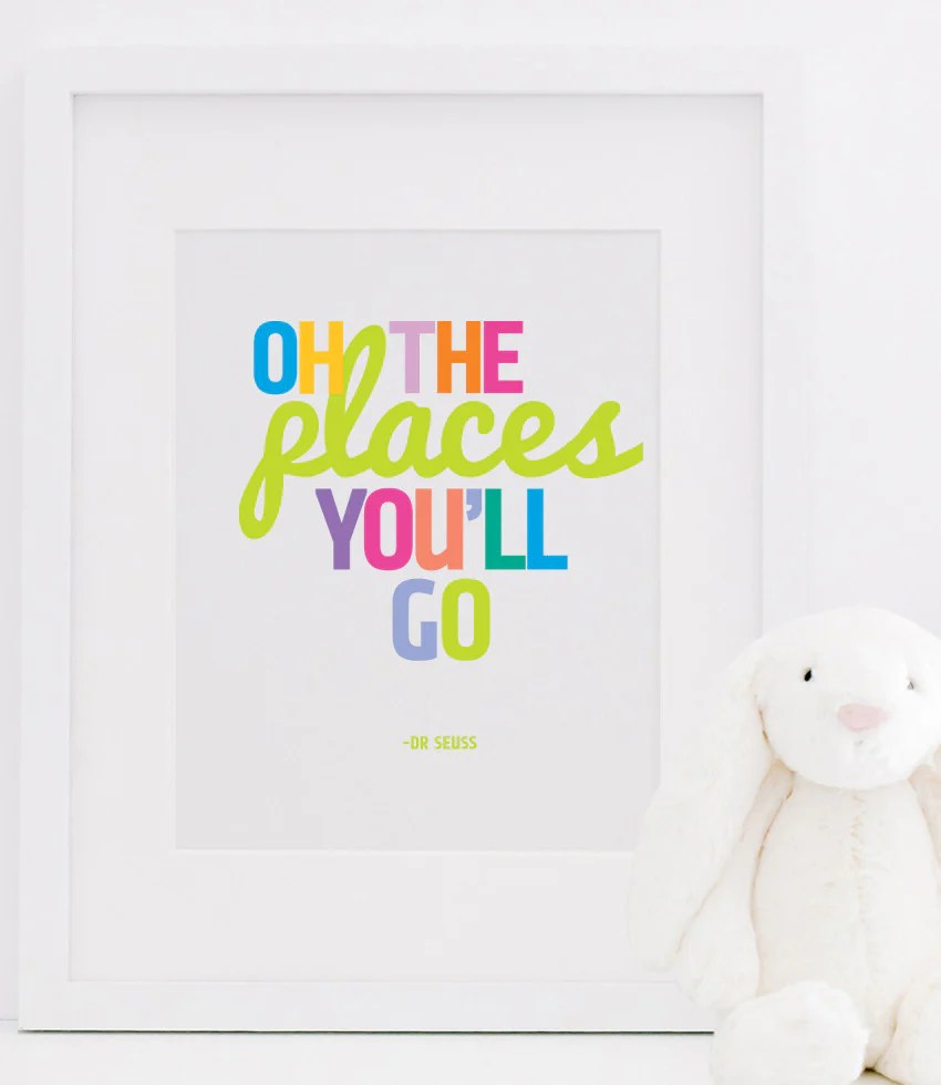 oh the places you ll go poster print dr seuss typographic print designs by maria inc