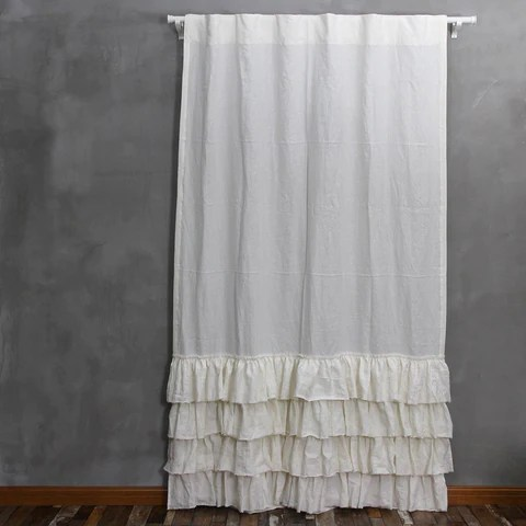 Vintage Washed Layered Ruffles Linen Shower Curtain Linenshed LINENSHED