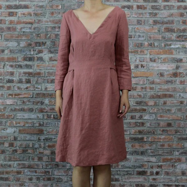 Vintage Style Linen Dress With Button Back Casual French Linen Clothes LINENSHED