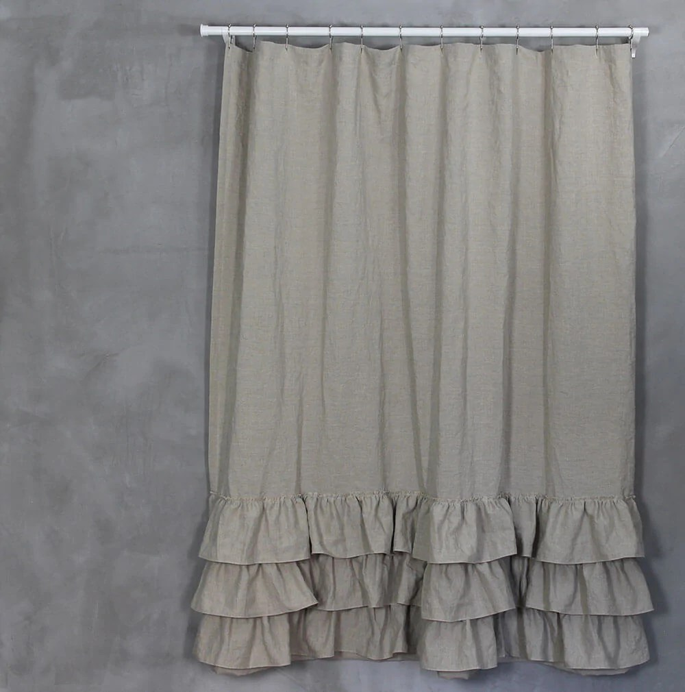 linen ruffles shower curtain