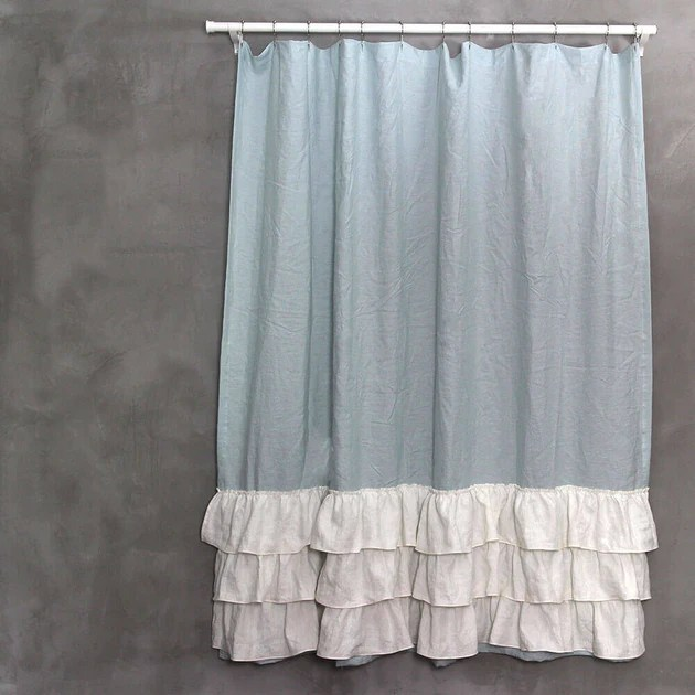 Vintage Washed Layered Tow Tones Ruffles Linen Shower Curtain Linenshed