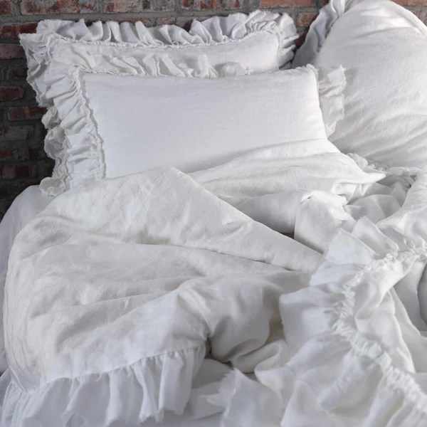 Shabby Chic Frayed Ruffles Duvet Cover Romantic Casual Linen Bedding Linenshed