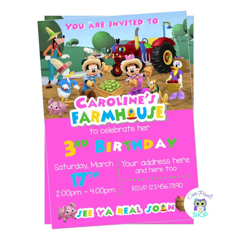 Farm Birthday Party Mickey Mouse Invitation Petting Zoo Cute Pixels Shop