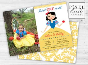 fairest one of all snow white 1st birthday party printable invitation