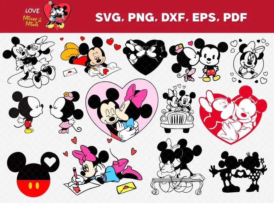 Download Mickey and Minnie Love Bundle Svg, Eps, Dxf, Png - Honey SVG