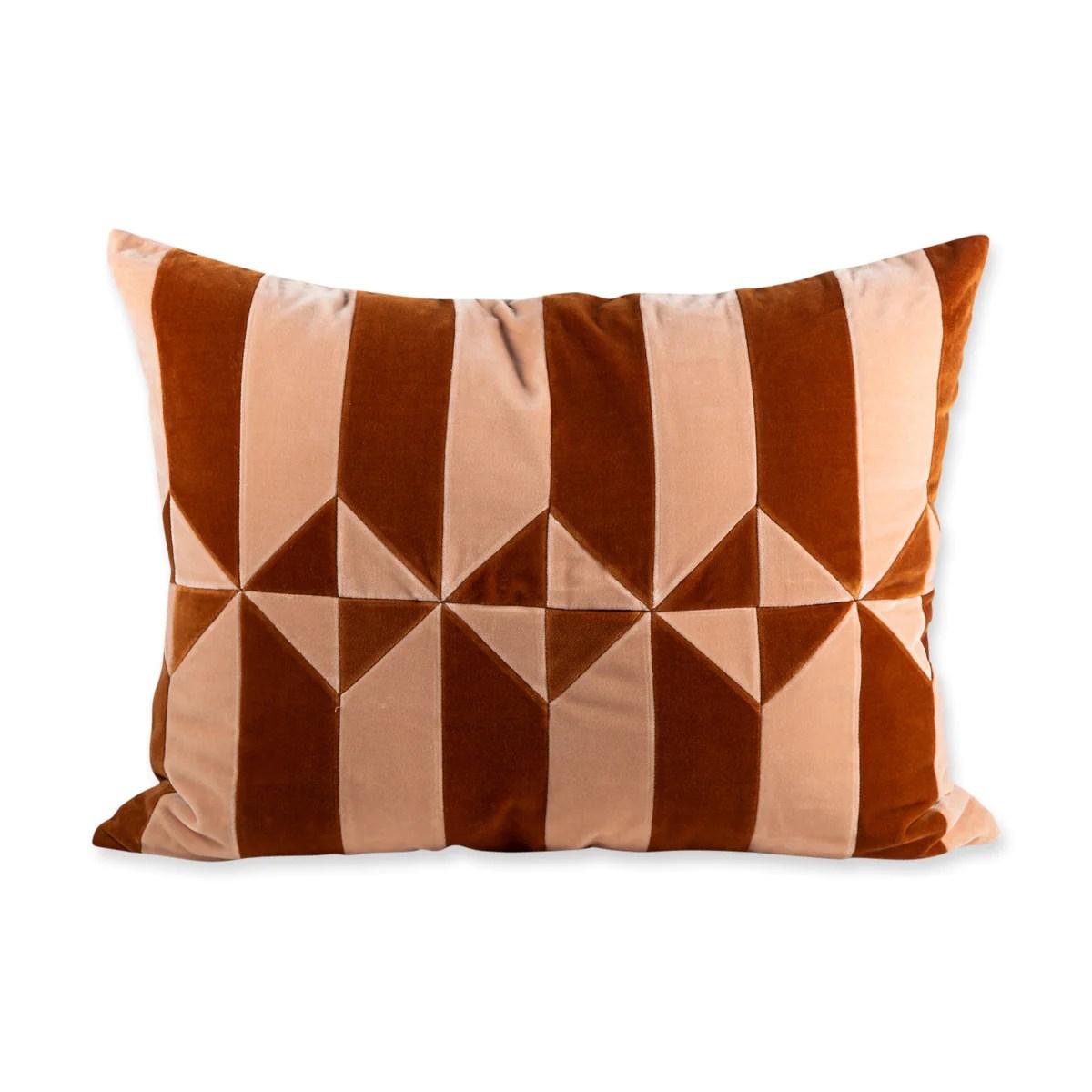 furbish studio hopkins velvet pillow peach burnt orange