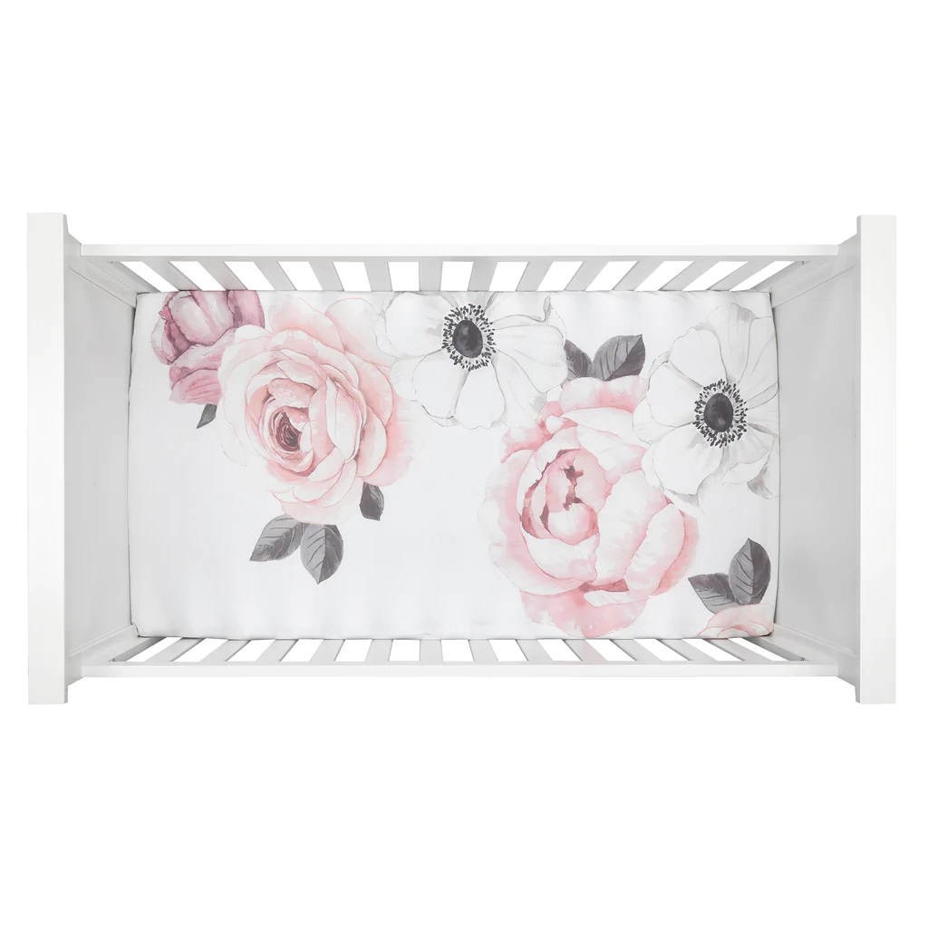 floral garden pink white watercolor cotton baby fitted crib sheet