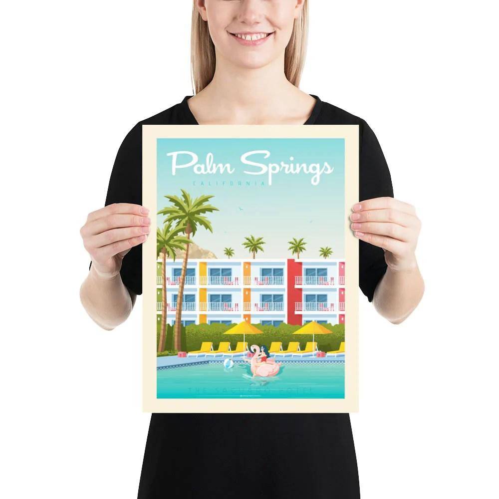 vintage palm springs poster poster