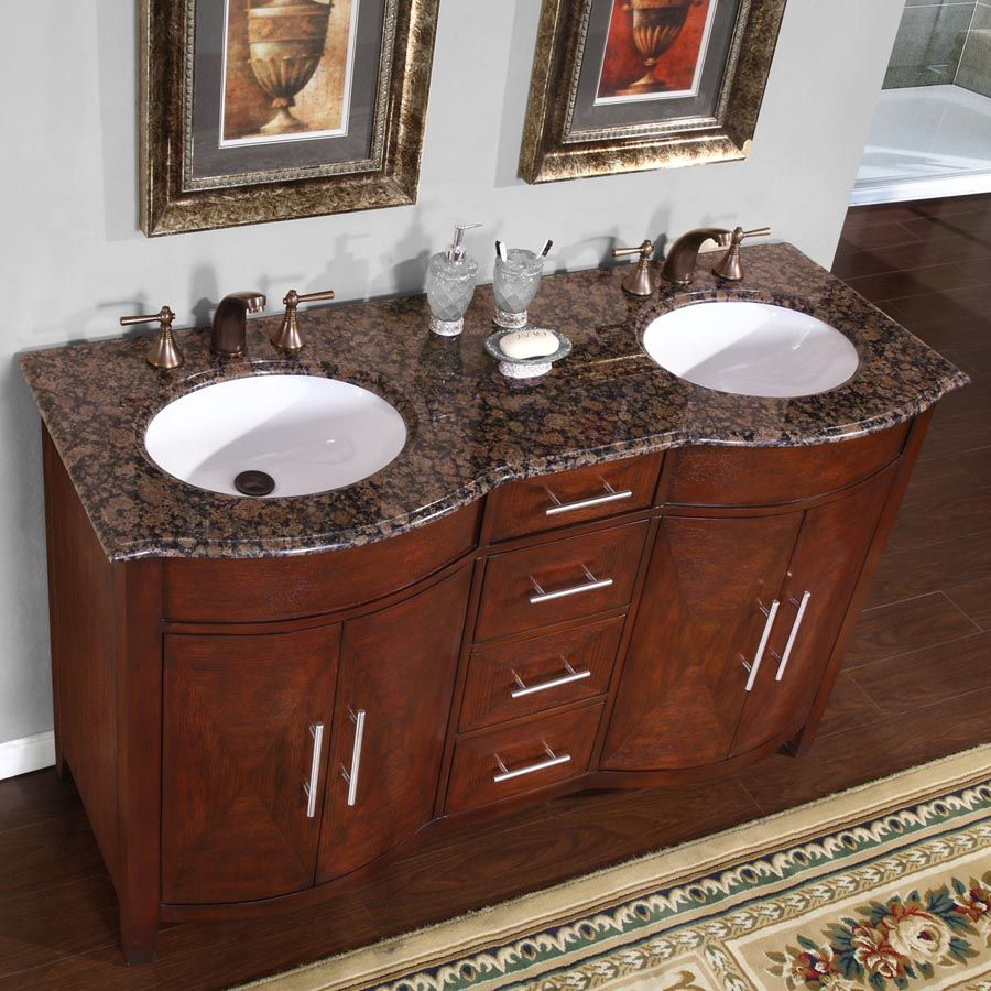 silkroad exclusive double sink vanity ceramic undermount double sink bathroom vanity with baltic brown granite top double sink vanity 58 in w x