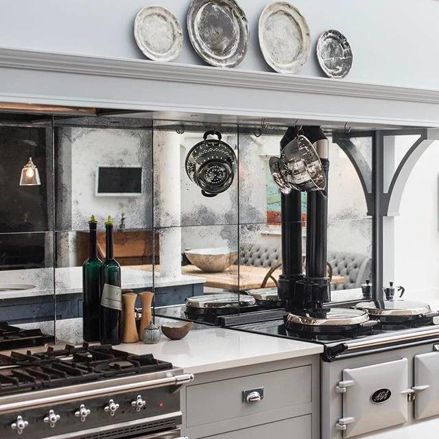 antique mirror kitchen tiles splashbacks
