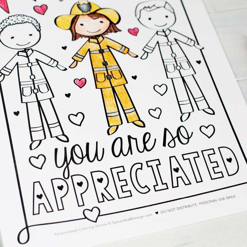 Community Helper First Responders Thank You Coloring Sheets Pdf Do Samantha B Design