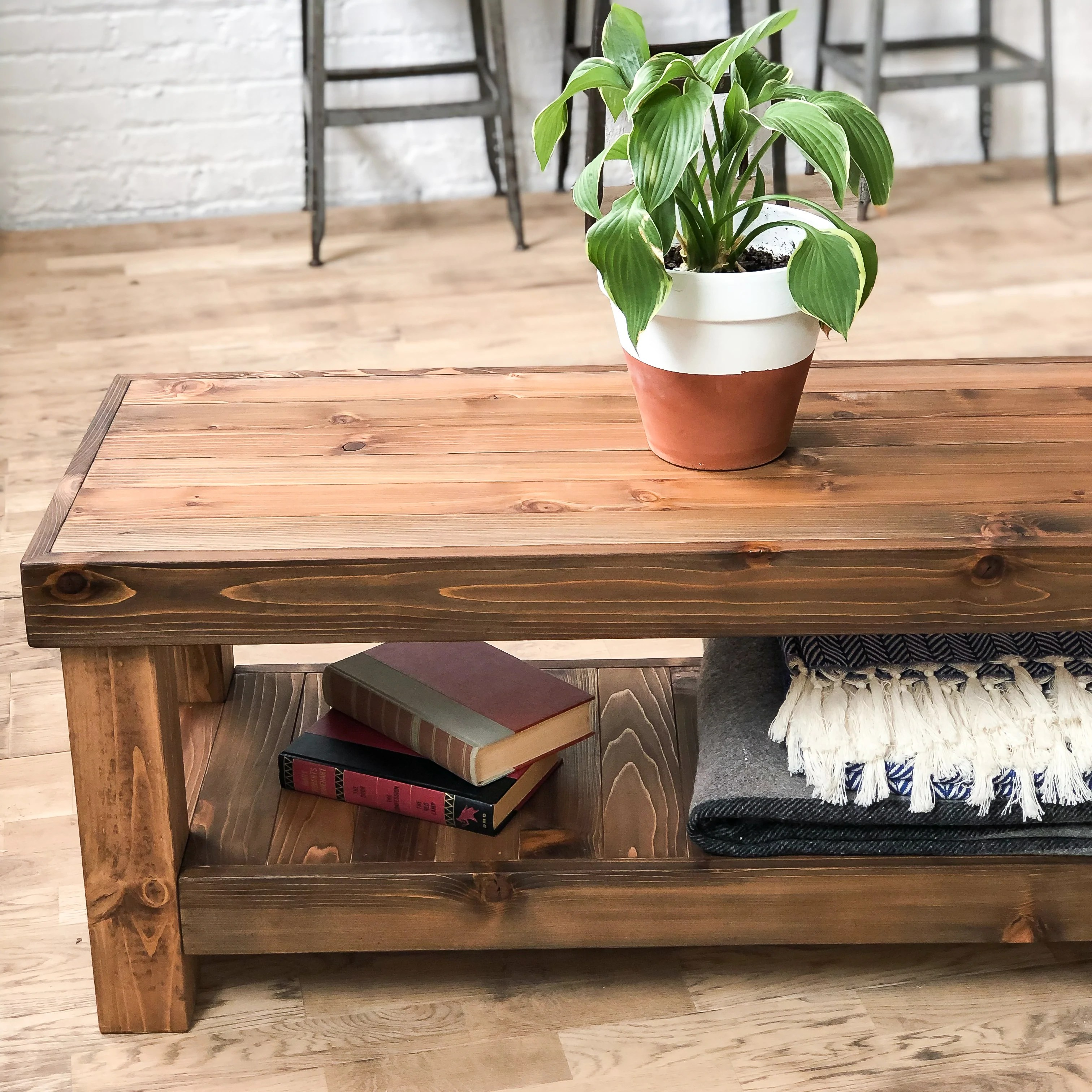 the standard coffee table rustic modern americana solid wood hand made in chicago usa
