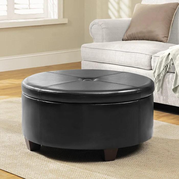 large round button top storage ottoman black faux leather
