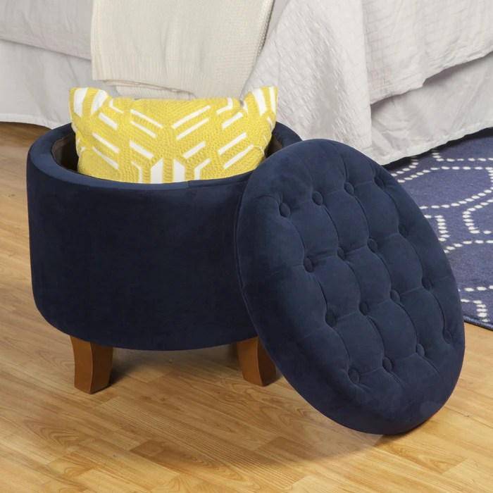 velvet tufted round ottoman with storage navy blue