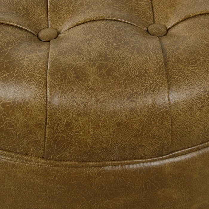 large tufted round storage ottoman distressed brown faux leather homepop furniture