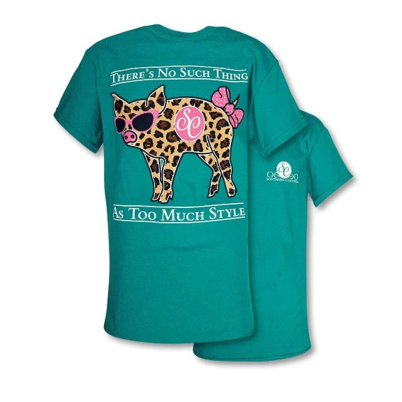Southern Couture Preppy Classic Leopard Pig T Shirt