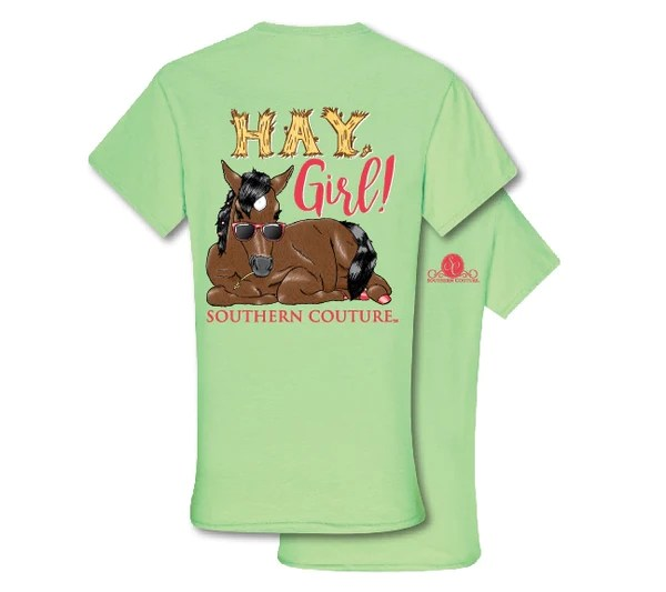 Southern Couture Preppy Hay Girl Horse T Shirt