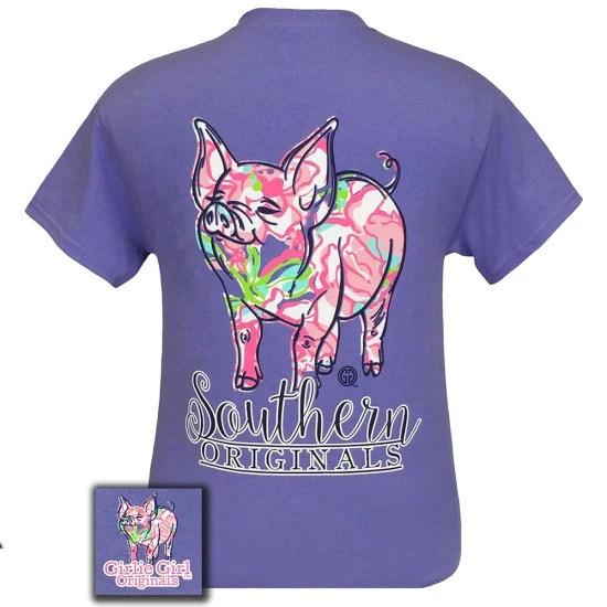 Girlie Girl Originals Southern Preppy Pig Violet T Shirt