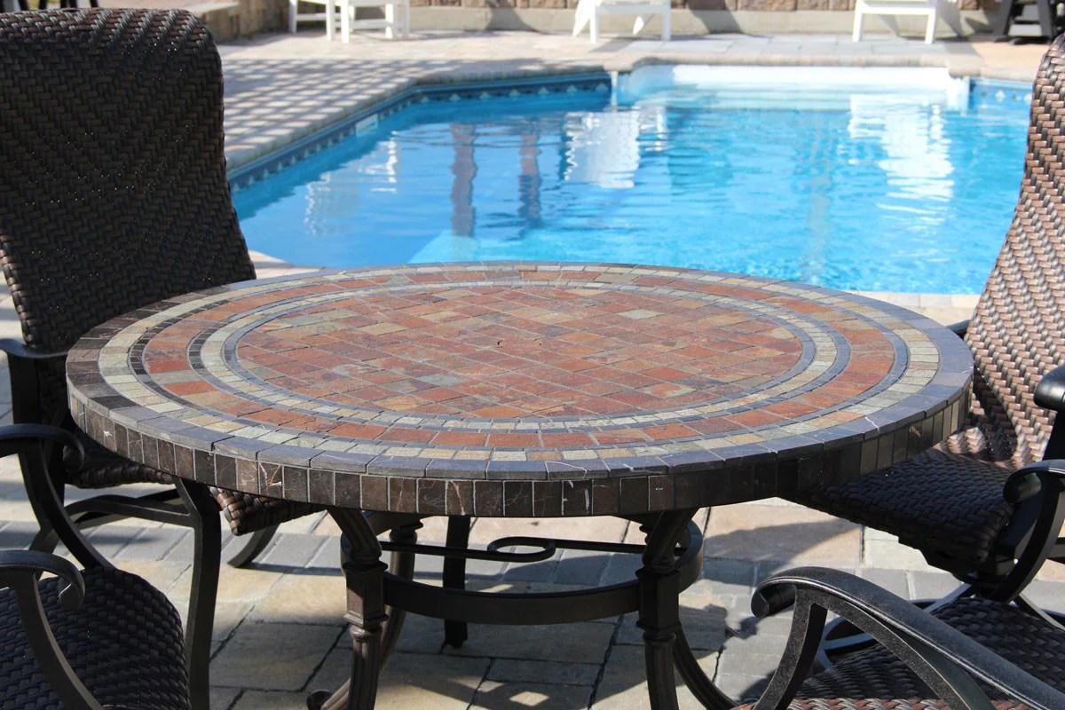 wineberry stone mosaic top dining set