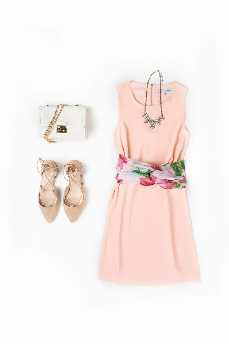 33a9283f0e4 Aria Floral Scarf + Janice Peach Sleeveless Shift Dress + Lana Crystal  Statement Necklace + Celeste White Gold Chain Purse