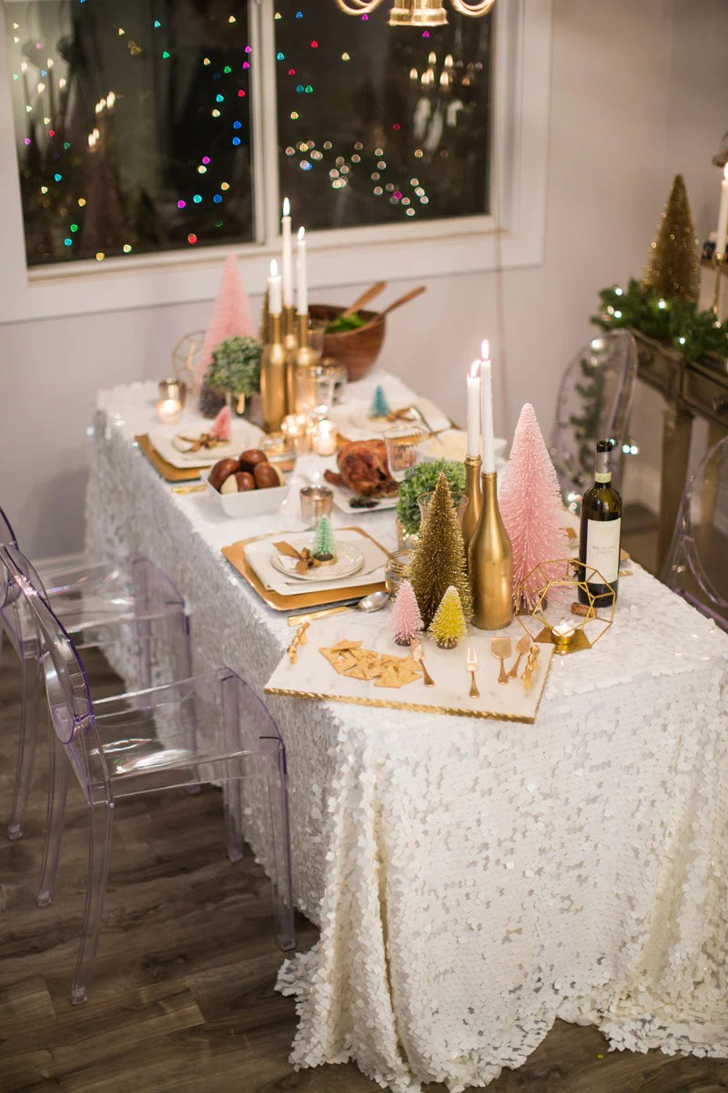 cute holiday table decor, colorful holiday table, pink christmas tree, morning lavender