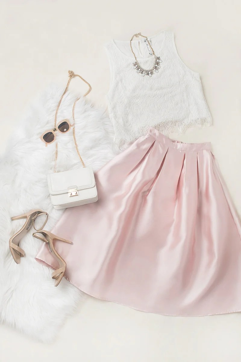 f463150d3b271 Jodi White Lace Crop Top   Lucille Pink Shiny Full Midi Skirt