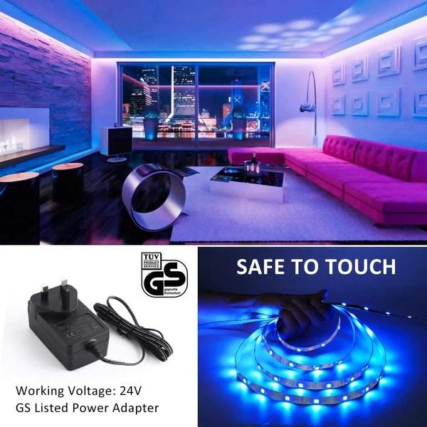 12m 40ft rgb led strip lights rf remote control color changing gaming room strip lights tiktok light strip