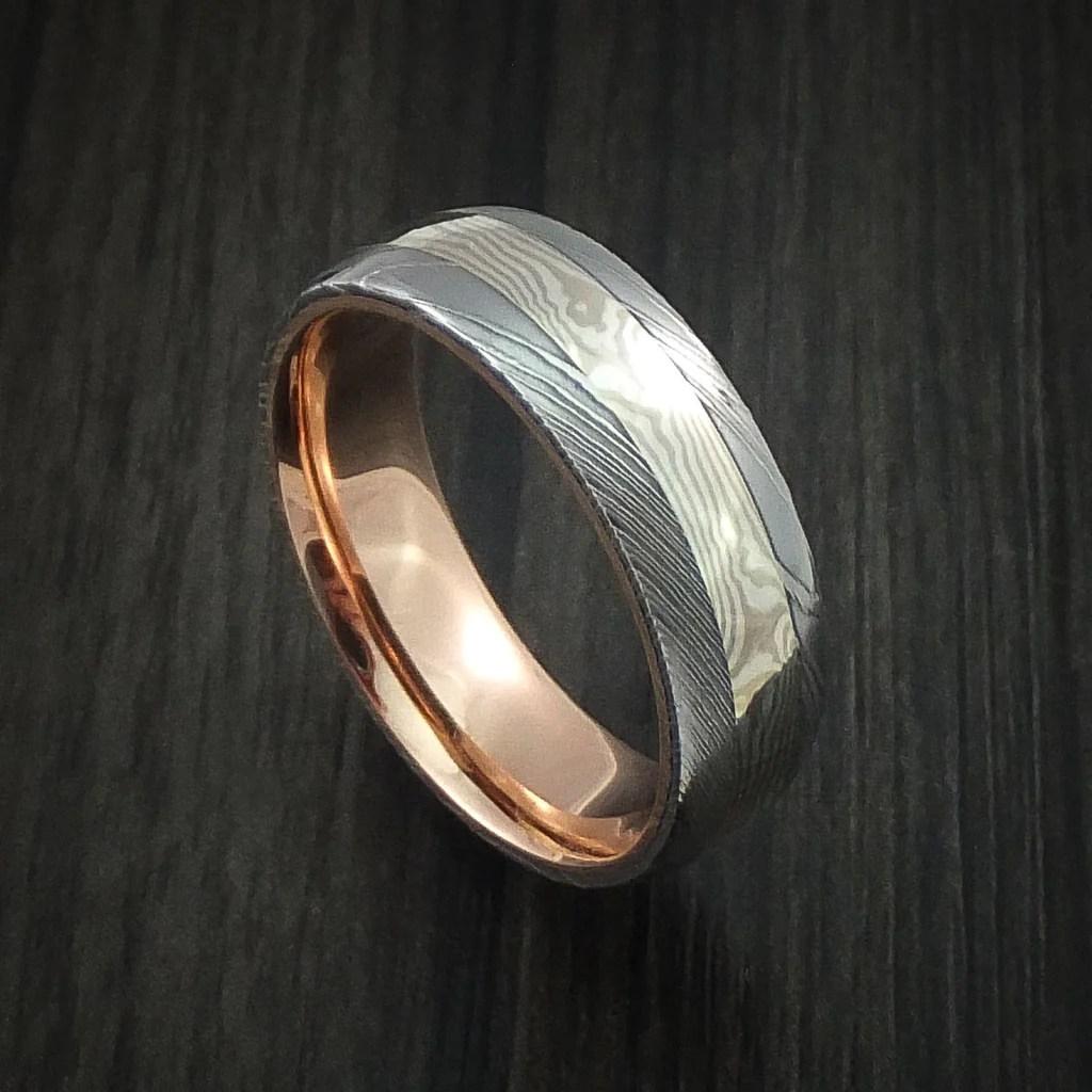 Damascus Steel And Mokume Gane Ring With 14k Rose Gold