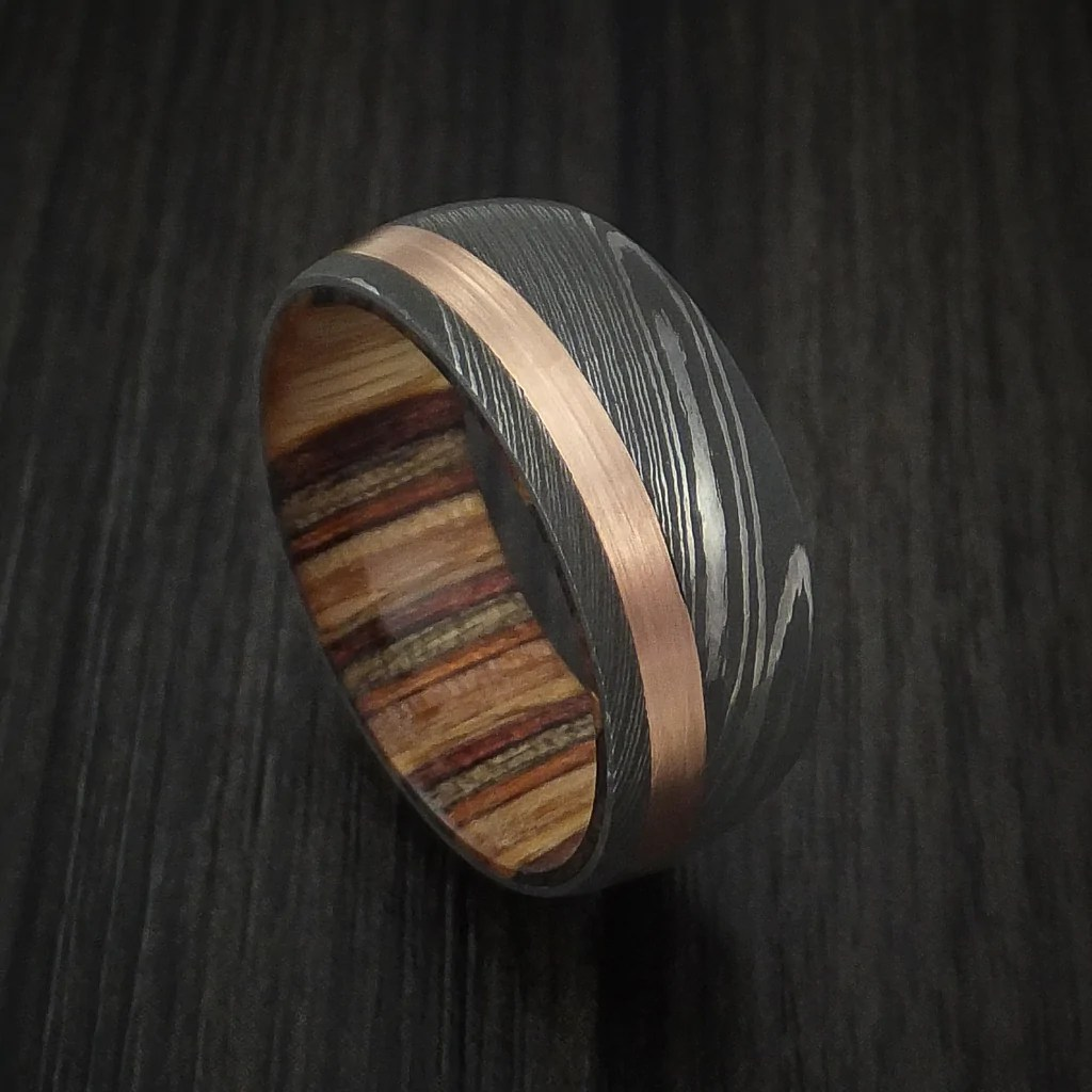 Damascus Steel And 14k Rose Gold Ring With Hazelnut