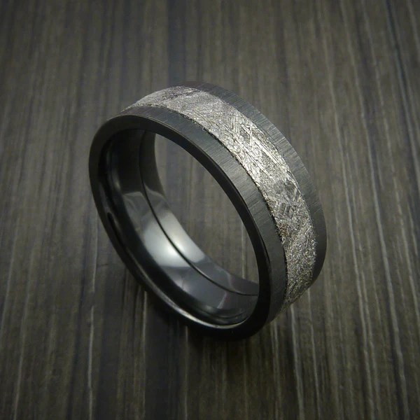 Gibeon Meteorite In Black Zirconium Wedding Band Made To