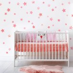 Multisized Watercolor Pink Star Wall Decals Nursery Wall Decor Star
