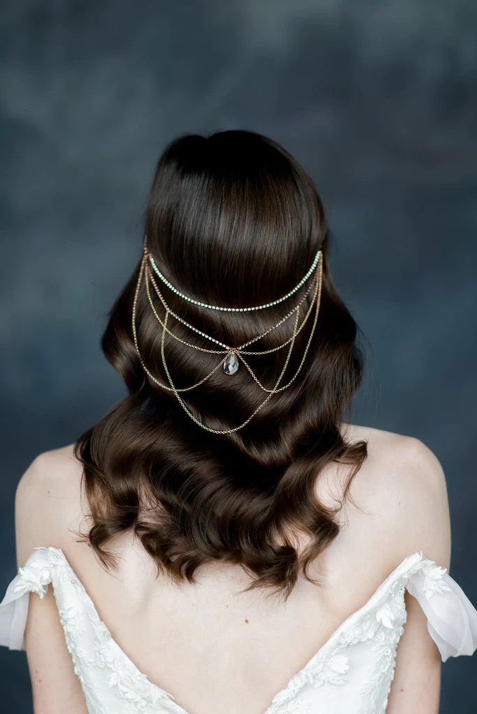 rose gold crystal hair chain hair jewelry handmade in toronto blair nadeau millinery