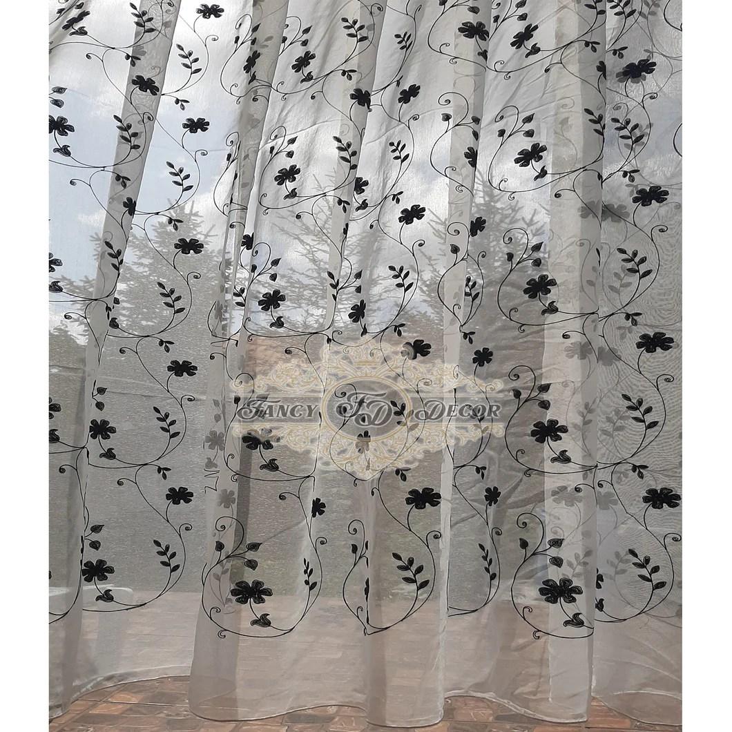 rideau transparent en lin blanc noir 1