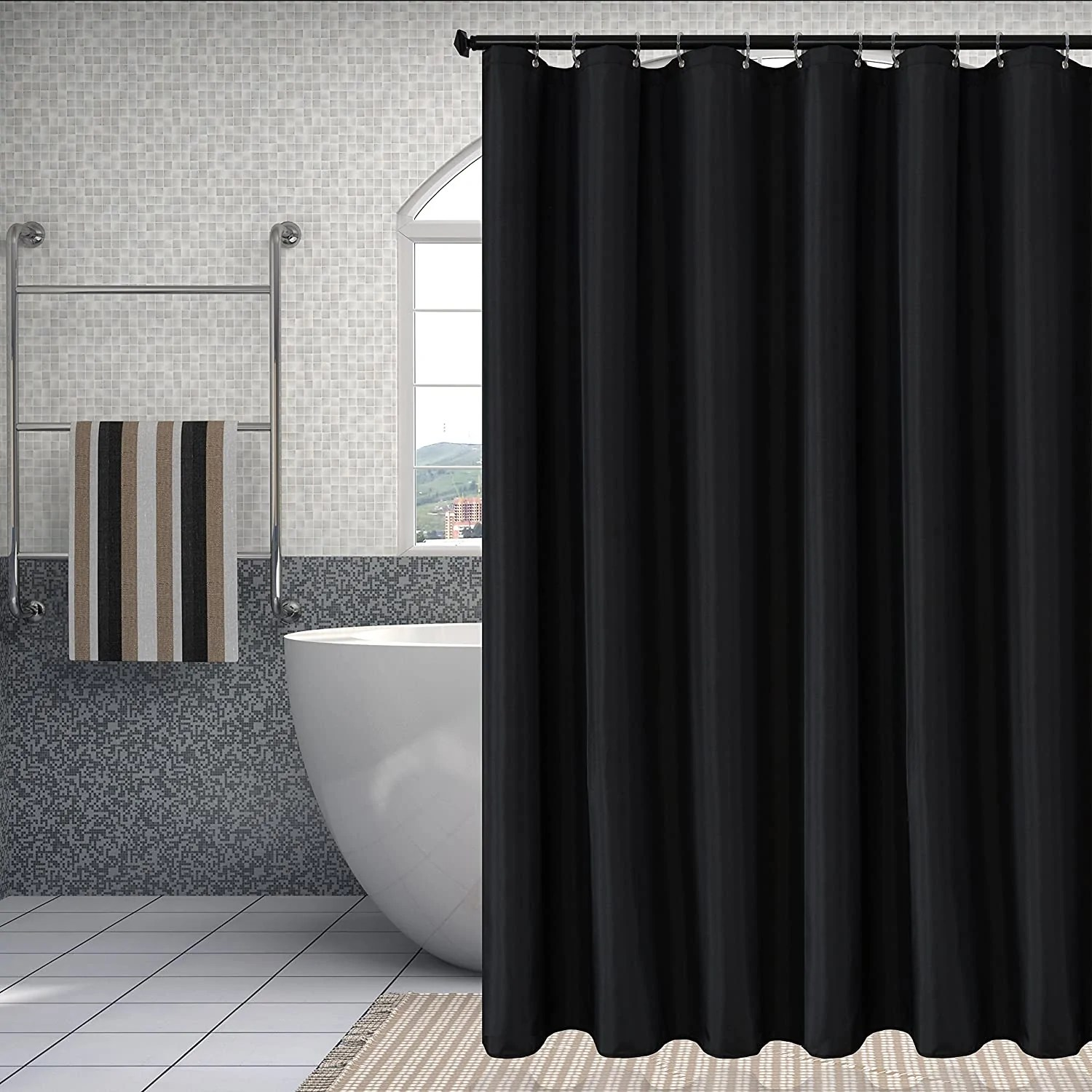 harfirbe fabric shower curtain liners water resistant bathroom curtain liners black 72 by 72 inches