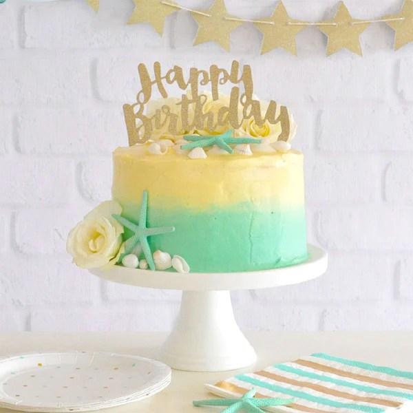 Happy Birthday Gold Glitter Cake Topper 1 Pce