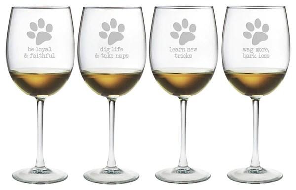 Dog Wisdom Wine Glasses Set Of 4