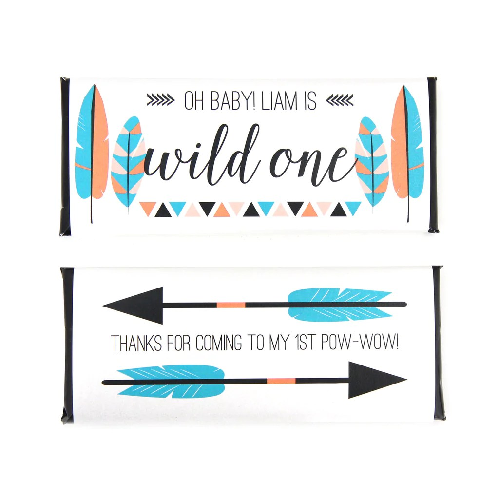 Tribal Feathers And Arrows Personalized Candy Bar