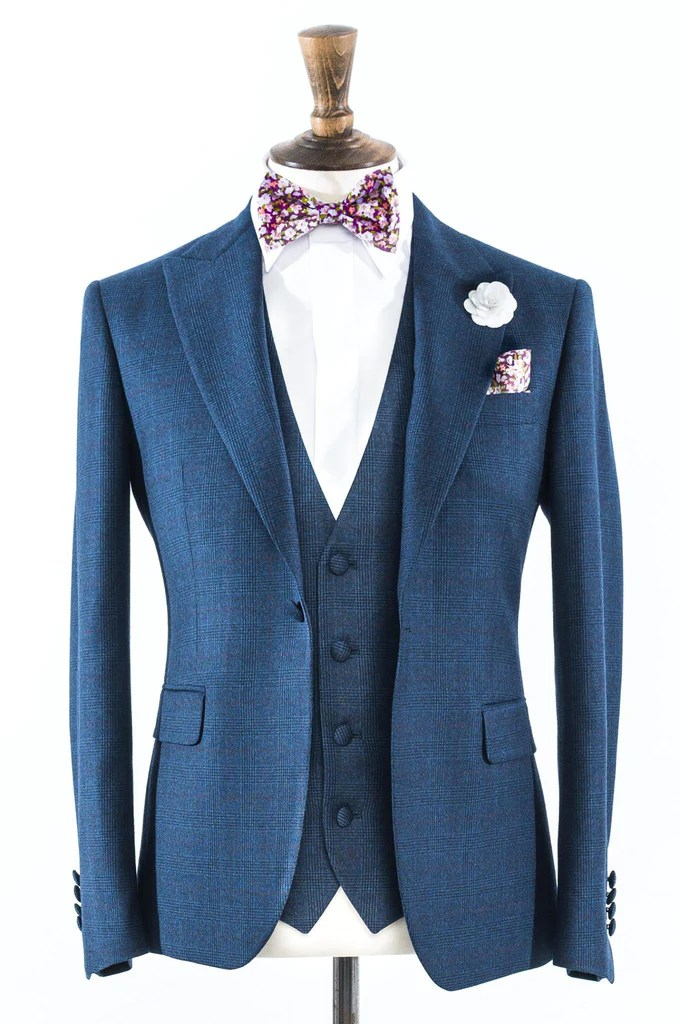 Navy Prince Of Wales Check Suit Red