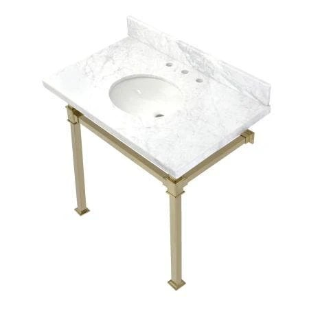 kingston brass kvpb36moq7 monarch 36 inch carrara marble console sink marble white brushed brass