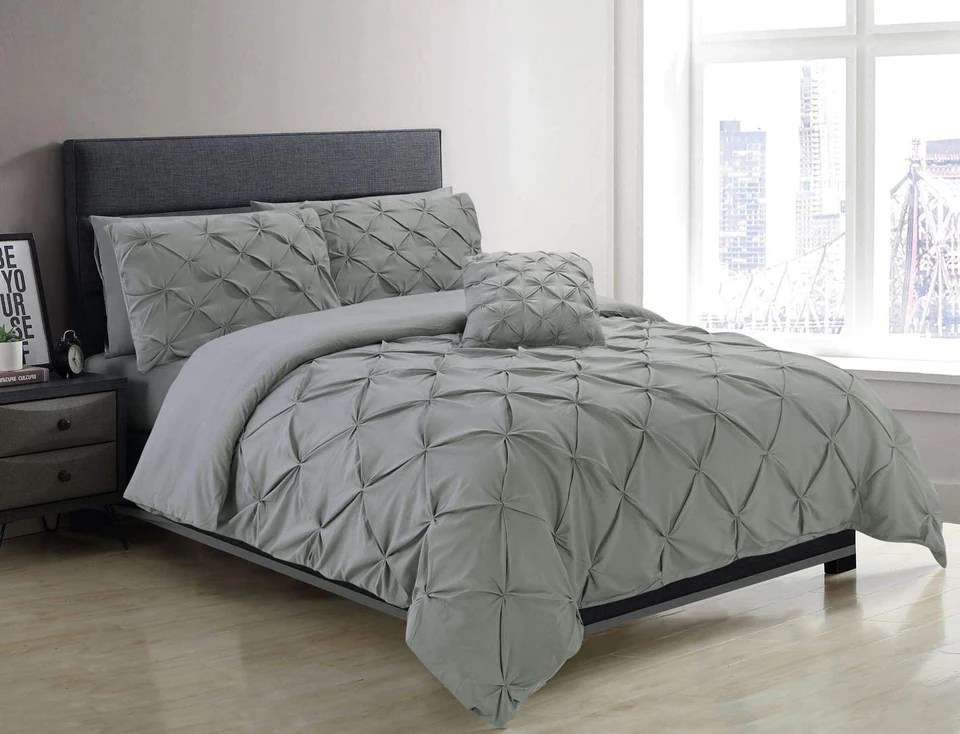 silver grey pin tuck duvet cover with pillow cases 100 cotton bedding sets single double king super king all sizes