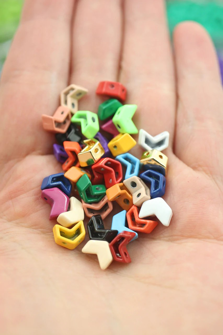 enamel tile beads chevron arrow shape 2 hole beads for colorblock bracelets