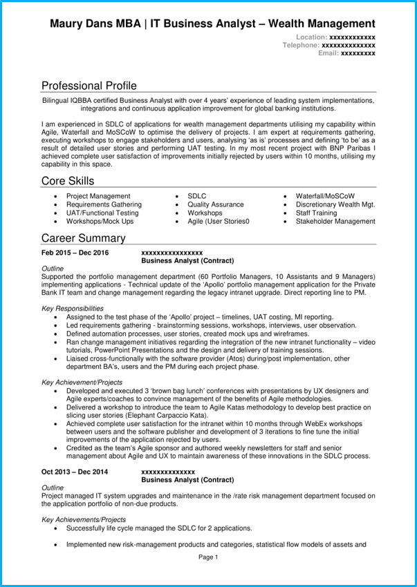 Business Analyst Cv Example Writing Guide Land A Top Ba Job
