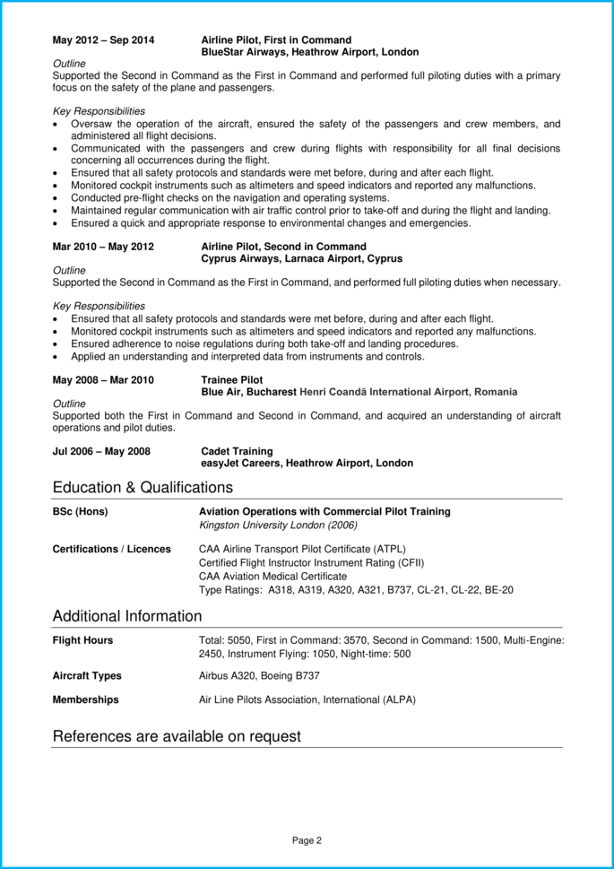 Pilot Cv Example In Depth Writing Guide Impress Leading Employers