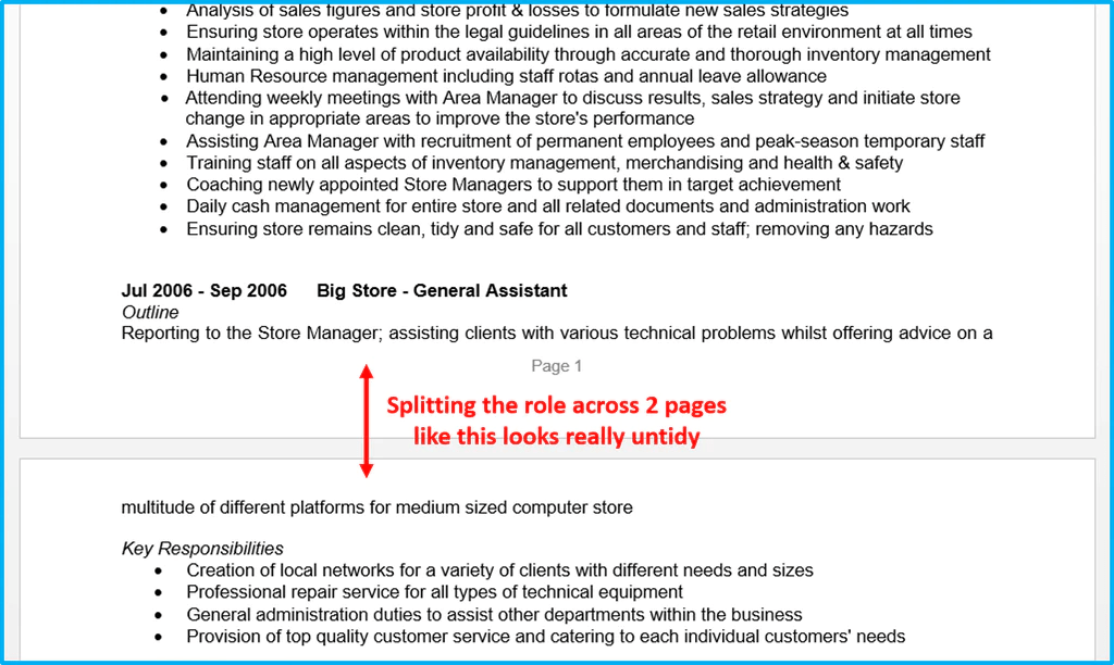 cv page formatting